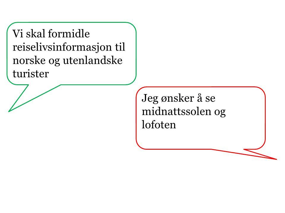 Vi skal formidle reiselivsinformasjon til norske og utenlandske turister Jeg ønsker å se midnattssolen og lofoten