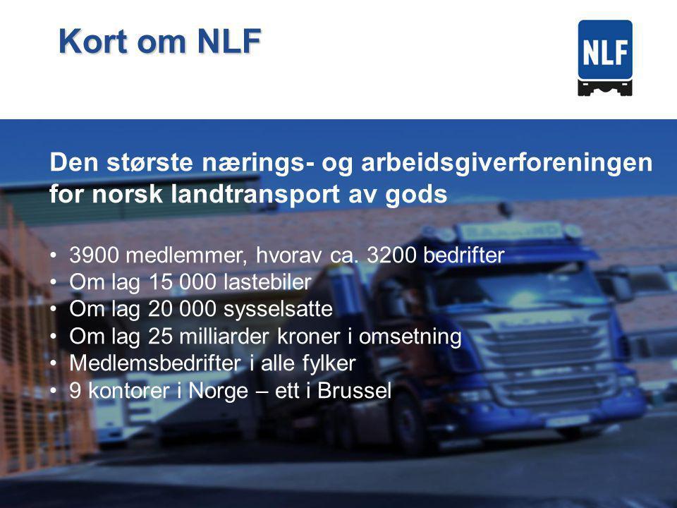 Den største nærings- og arbeidsgiverforeningen for norsk landtransport av gods 3900 medlemmer, hvorav ca.