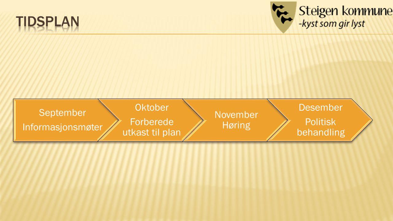 September Informasjonsmøter Oktober Forberede utkast til plan November Høring Desember Politisk behandling