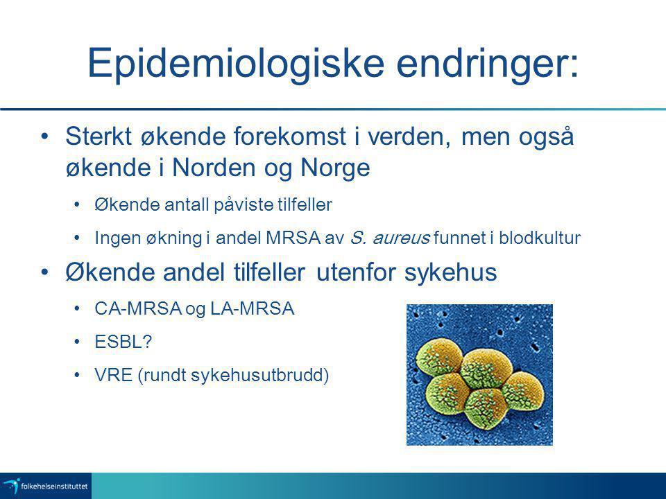 Epidemiologiske endringer: Sterkt økende forekomst i verden, men også økende i Norden og Norge Økende antall påviste tilfeller Ingen økning i andel MR