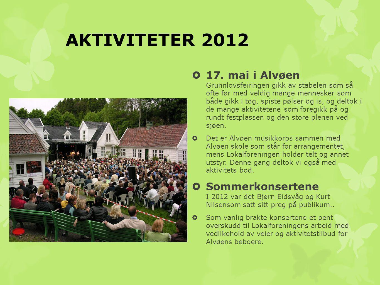 AKTIVITETER 2012  17. mai i Alvøen Grunnlovsfeiringen gikk av stabelen som så ofte før med veldig mange mennesker som både gikk i tog, spiste pølser
