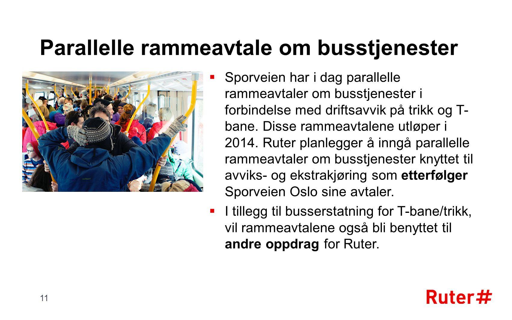 Parallelle rammeavtale om busstjenester  Sporveien har i dag parallelle rammeavtaler om busstjenester i forbindelse med driftsavvik på trikk og T- ba