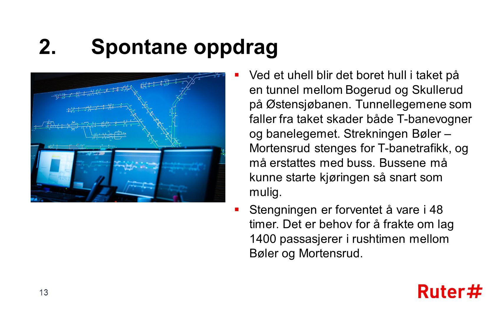 2.Spontane oppdrag  Ved et uhell blir det boret hull i taket på en tunnel mellom Bogerud og Skullerud på Østensjøbanen. Tunnellegemene som faller fra