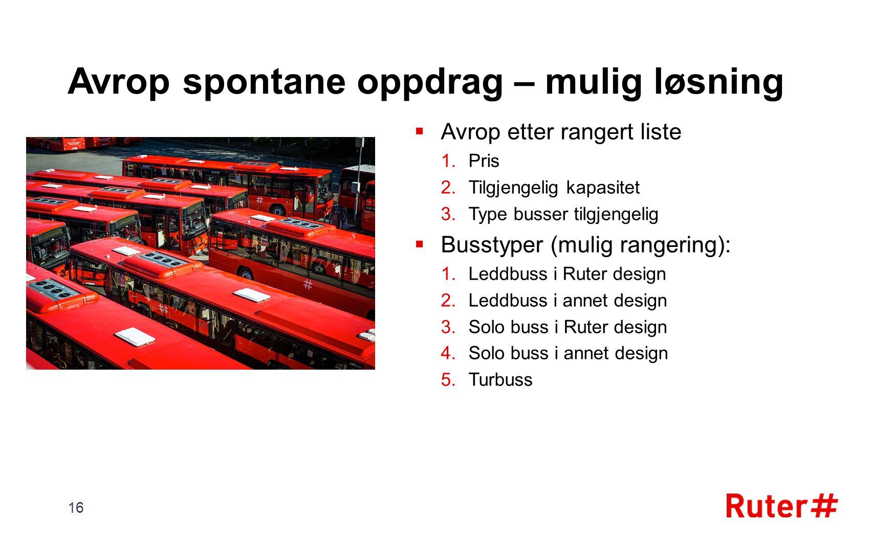 Avrop spontane oppdrag – mulig løsning  Avrop etter rangert liste 1.Pris 2.Tilgjengelig kapasitet 3.Type busser tilgjengelig  Busstyper (mulig range