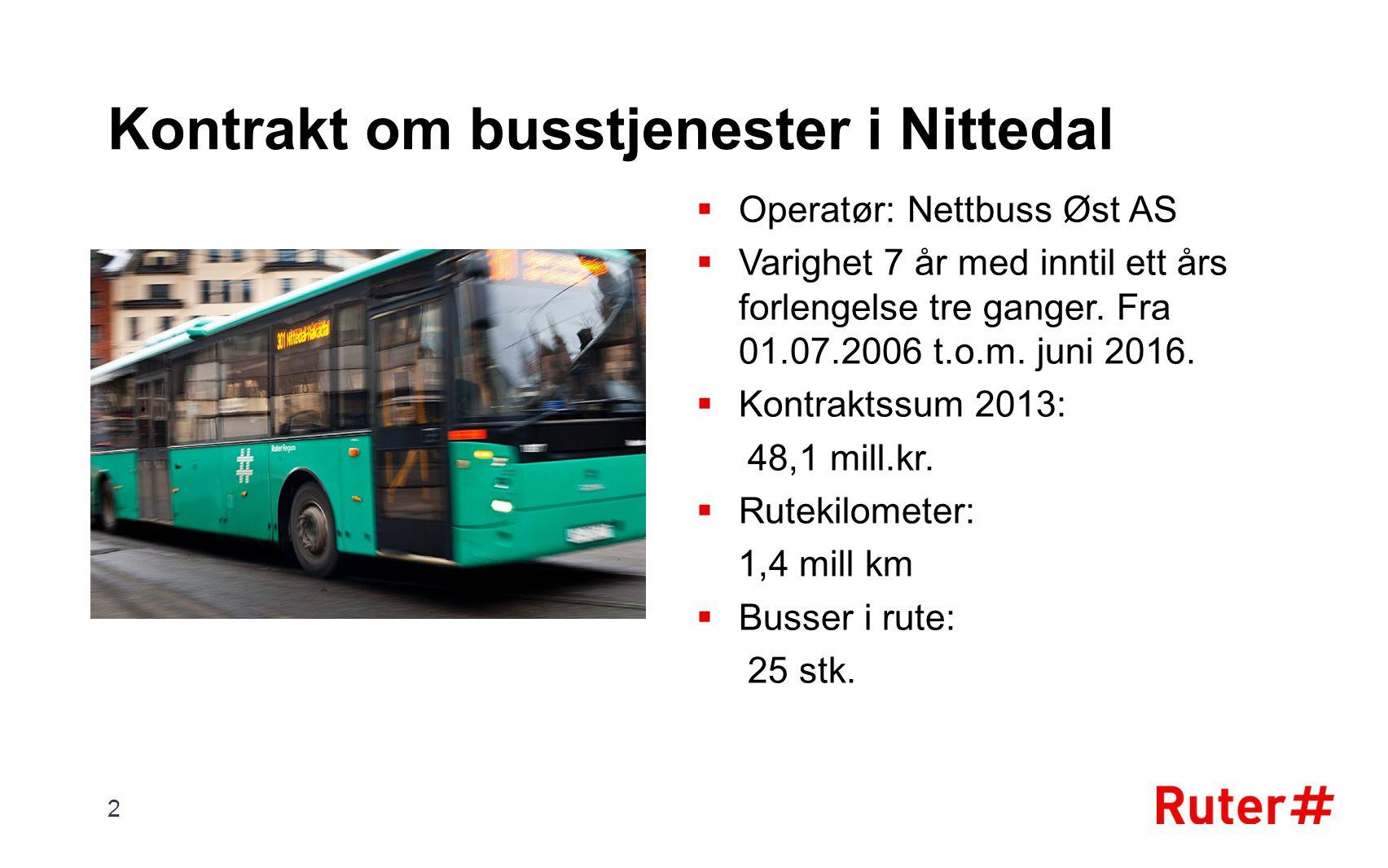 Kontrakt om busstjenester i Nittedal  Operatør: Nettbuss Øst AS  Varighet 7 år med inntil ett års forlengelse tre ganger. Fra 01.07.2006 t.o.m. juni