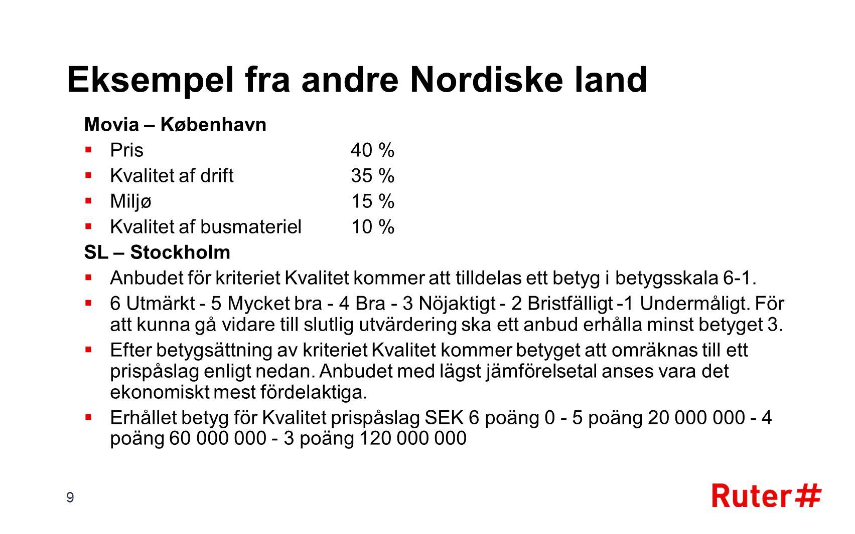 Eksempel fra andre Nordiske land Movia – København  Pris 40 %  Kvalitet af drift 35 %  Miljø 15 %  Kvalitet af busmateriel 10 % SL – Stockholm  A