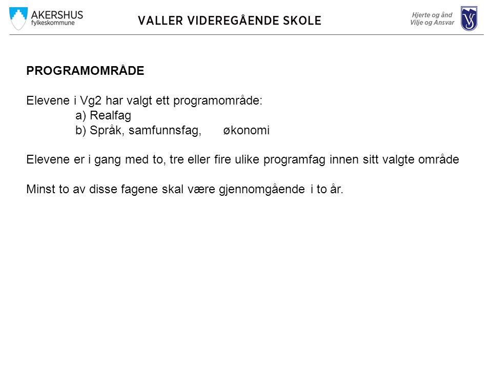 PROGRAMOMRÅDE Elevene i Vg2 har valgt ett programområde: a) Realfag b) Språk, samfunnsfag, økonomi Elevene er i gang med to, tre eller fire ulike prog