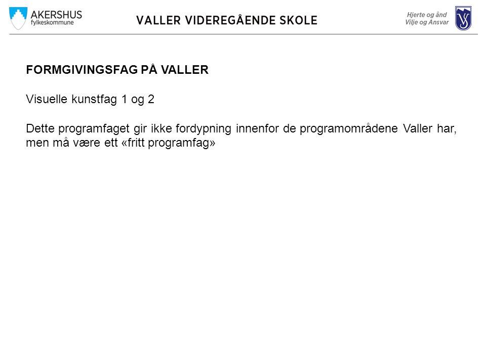 FORMGIVINGSFAG PÅ VALLER Visuelle kunstfag 1 og 2 Dette programfaget gir ikke fordypning innenfor de programområdene Valler har, men må være ett «frit