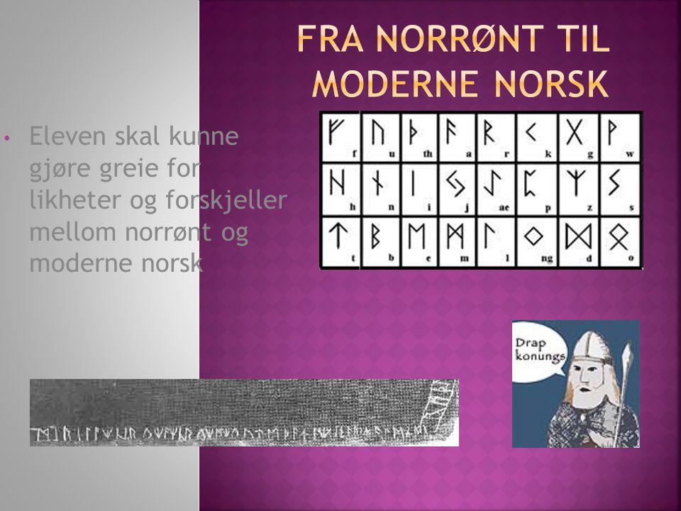 Eleven skal kunne gjøre greie for likheter og forskjeller mellom norrønt og moderne norsk