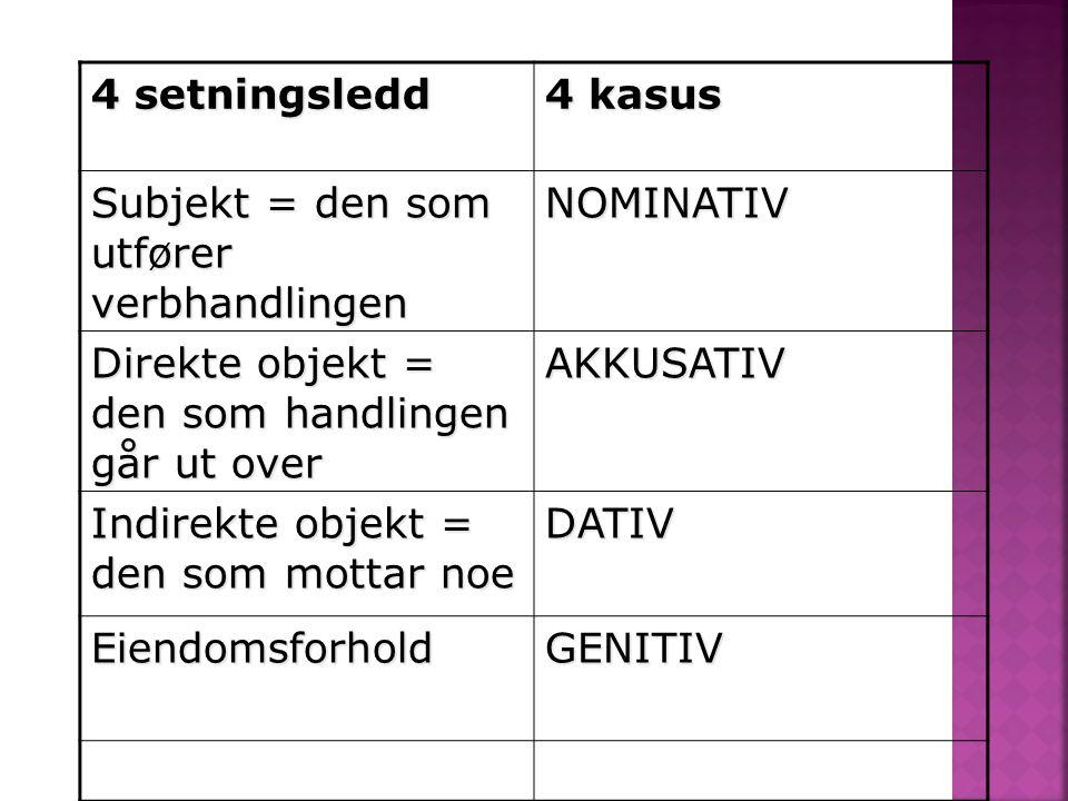 4 setningsledd 4 kasus Subjekt = den som utfører verbhandlingen NOMINATIV Direkte objekt = den som handlingen går ut over AKKUSATIV Indirekte objekt =