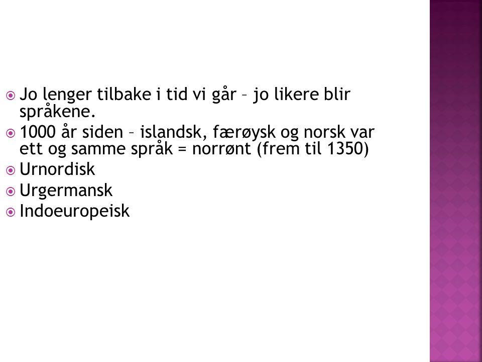  Jo lenger tilbake i tid vi går – jo likere blir språkene.  1000 år siden – islandsk, færøysk og norsk var ett og samme språk = norrønt (frem til 13
