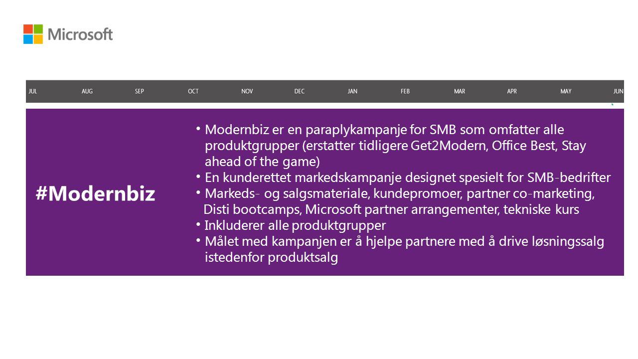 #Modernbiz Modernbiz er en paraplykampanje for SMB som omfatter alle produktgrupper (erstatter tidligere Get2Modern, Office Best, Stay ahead of the game) En kunderettet markedskampanje designet spesielt for SMB-bedrifter Markeds- og salgsmateriale, kundepromoer, partner co-marketing, Disti bootcamps, Microsoft partner arrangementer, tekniske kurs Inkluderer alle produktgrupper Målet med kampanjen er å hjelpe partnere med å drive løsningssalg istedenfor produktsalg