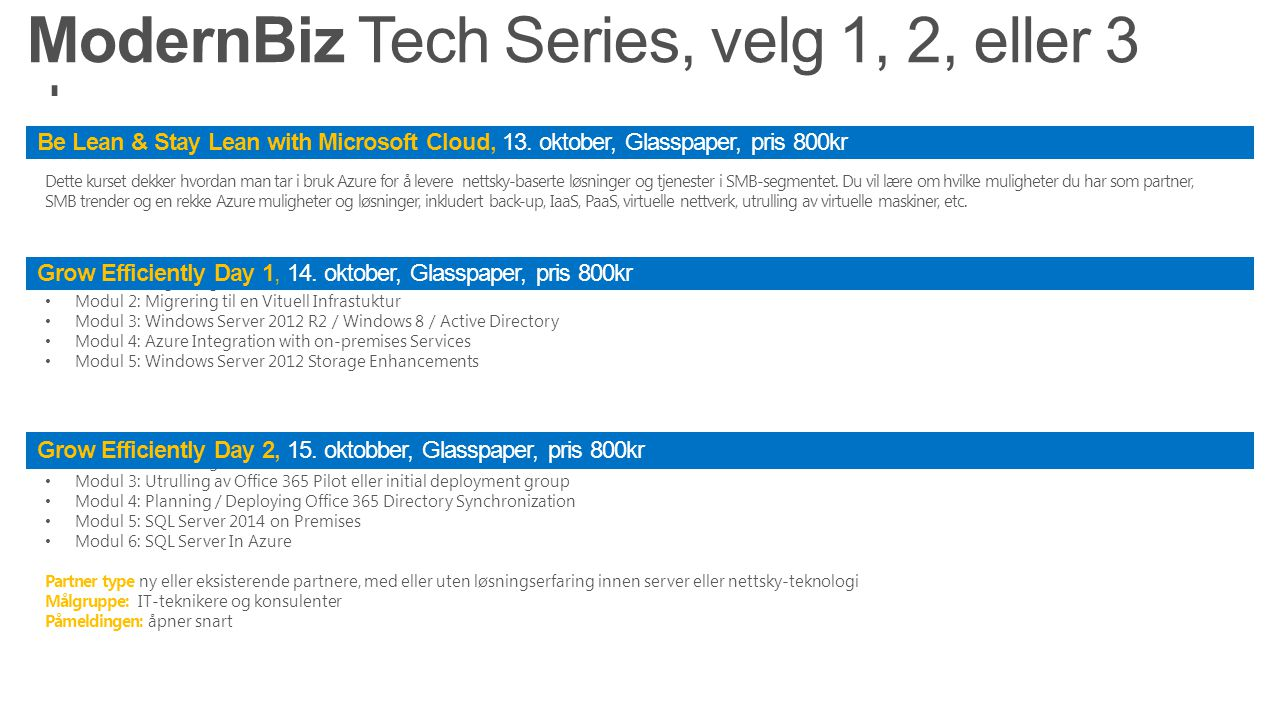 Dette kurset dekker hvordan man tar i bruk Azure for å levere nettsky-baserte løsninger og tjenester i SMB-segmentet.