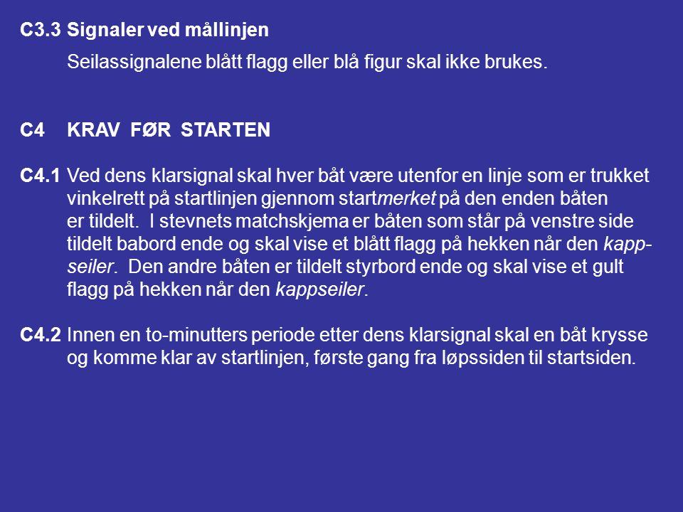 C3.2Endringer av tilhørende regler (a)Regel 29.1 er endret til: (1)Når noen del av en båts skrog, besetning eller utstyr er på løps- siden av startlin