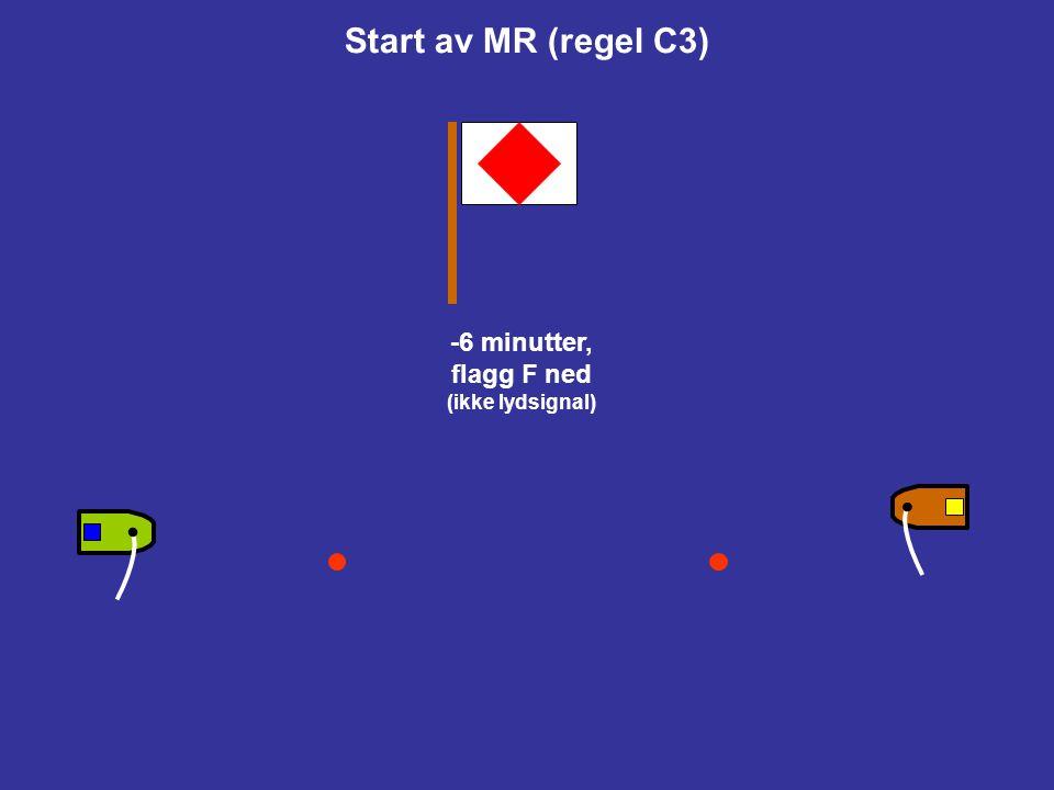 Start av MR (regel C3) -10 minutter, flagg F opp (oppmerksomhetssignal) Båten på venstre side i startskjema starter BB (blått flagg) Båten på høyre si