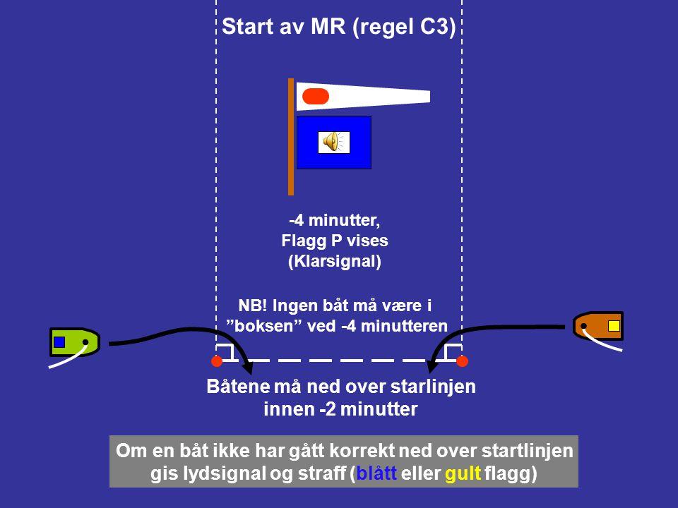 Start av MR (regel C3) -5 minutter, tallstandard 1 (2, …) vises (Varselsignal) Regel 42 (fremdrift) gjelder fra dette varselsignalet