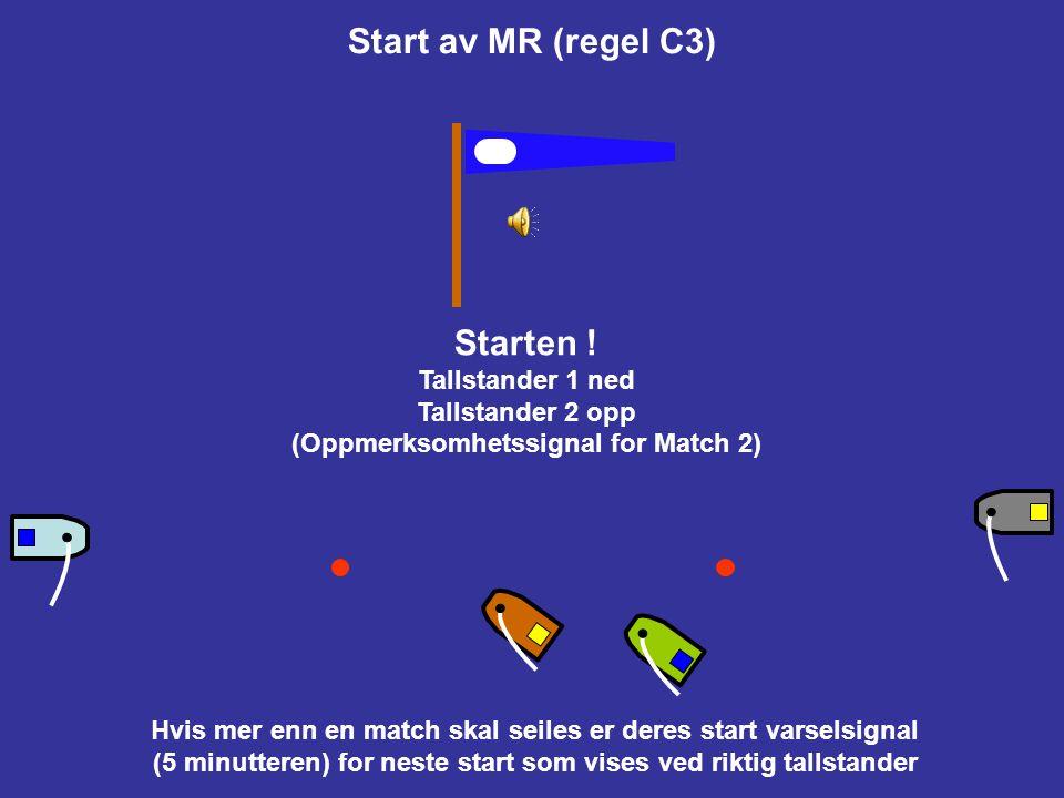 Start av MR (regel C3) Så fighter de om best mulig startposisjon (og bruker reglene for å kontrollere den andre båten og selv oppnå best mulig egen st