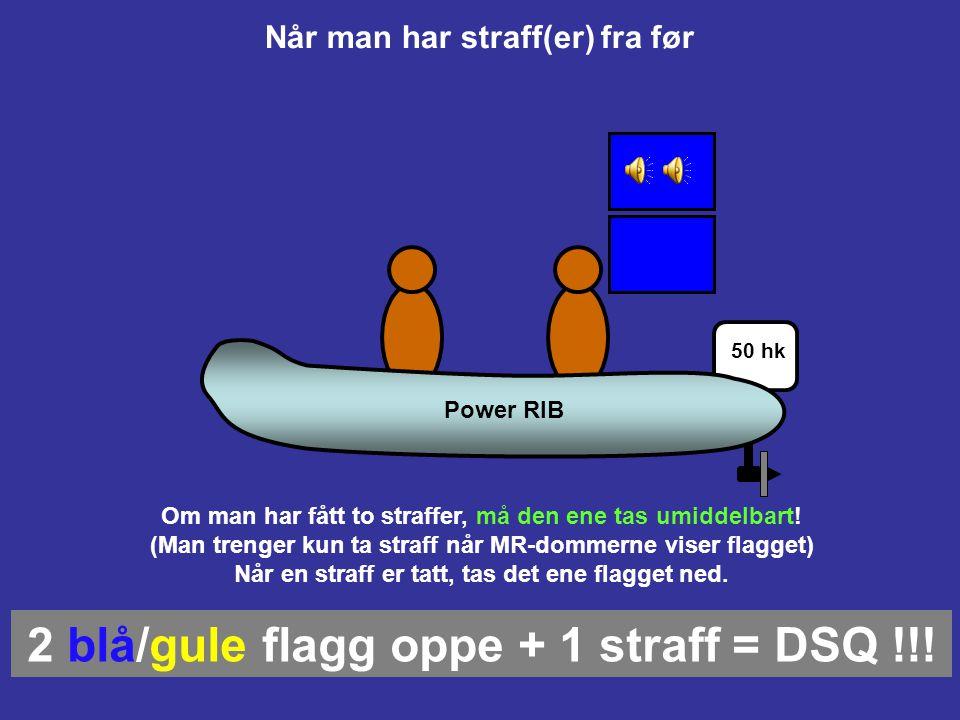 Straffer vises ved hhv blått eller gult flagg Når blå båt har tatt sin straff tas flagget ned (kan vente med å ta straffen) (eller, om gul båt tildele