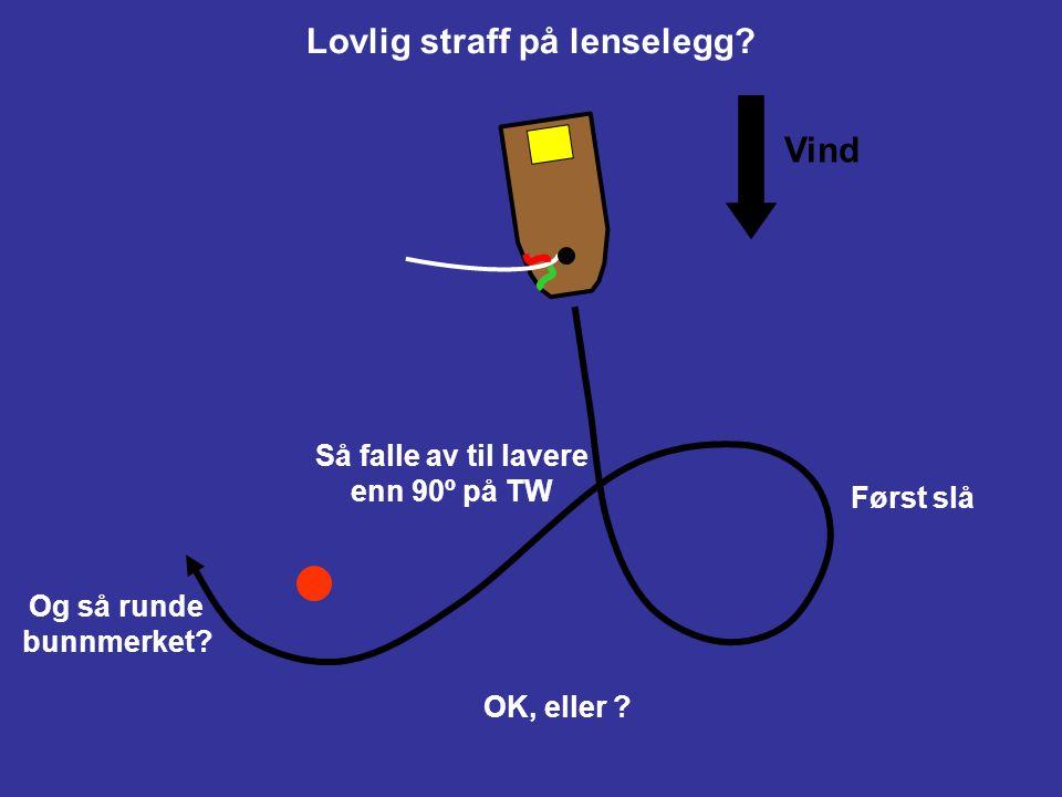 """Ta straff på lenselegg Først slå Deretter falle av til lavere kurs enn 90º på True Wind Vind Dvs. ikke""""360"""" eller """"720"""""""