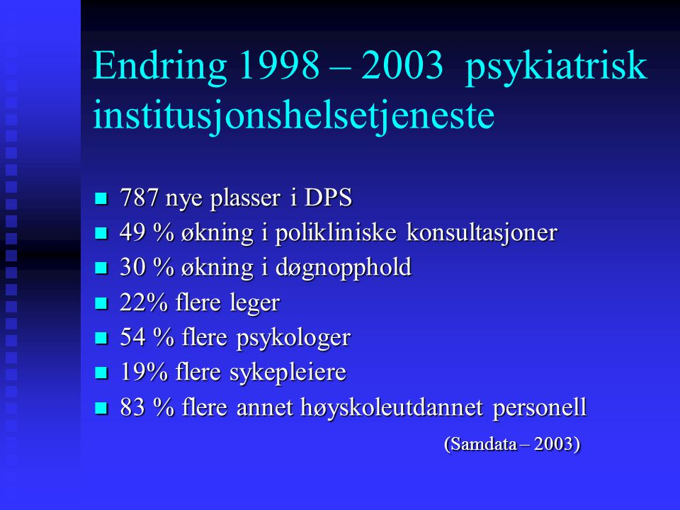 Endring 1998 – 2003 psykiatrisk institusjonshelsetjeneste 787 nye plasser i DPS 787 nye plasser i DPS 49 % økning i polikliniske konsultasjoner 49 % økning i polikliniske konsultasjoner 30 % økning i døgnopphold 30 % økning i døgnopphold 22% flere leger 22% flere leger 54 % flere psykologer 54 % flere psykologer 19% flere sykepleiere 19% flere sykepleiere 83 % flere annet høyskoleutdannet personell 83 % flere annet høyskoleutdannet personell (Samdata – 2003) (Samdata – 2003)