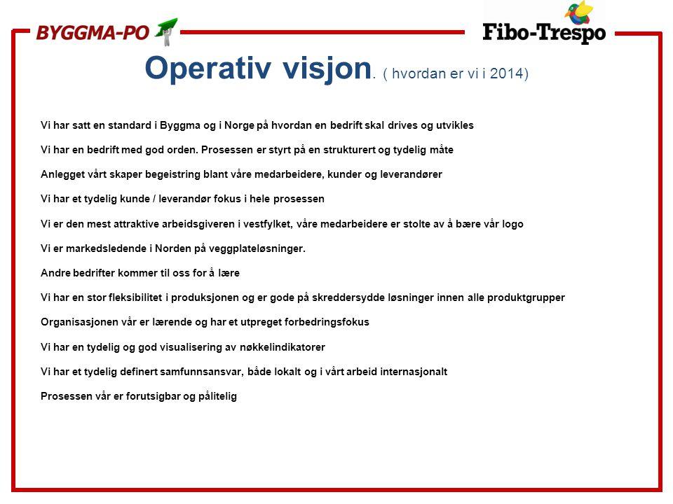 Operativ visjon. ( hvordan er vi i 2014) Vi har satt en standard i Byggma og i Norge på hvordan en bedrift skal drives og utvikles Vi har en bedrift m