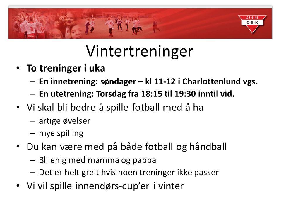 Vintertreninger To treninger i uka – En innetrening: søndager – kl 11-12 i Charlottenlund vgs.