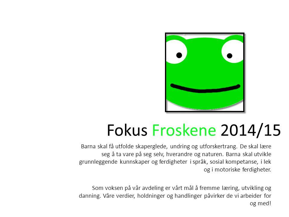 Fokus Froskene 2014/15 Barna skal få utfolde skaperglede, undring og utforskertrang.
