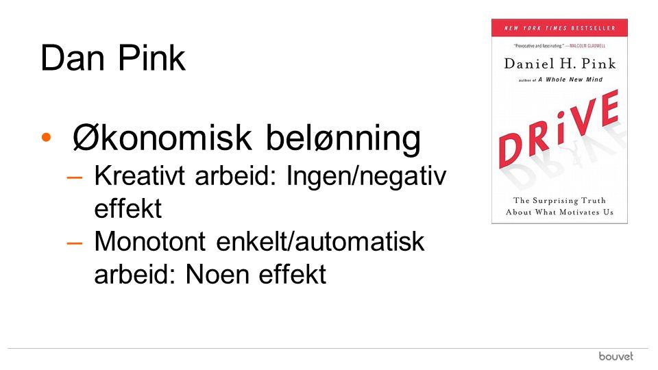 Dan Pink Økonomisk belønning –Kreativt arbeid: Ingen/negativ effekt –Monotont enkelt/automatisk arbeid: Noen effekt