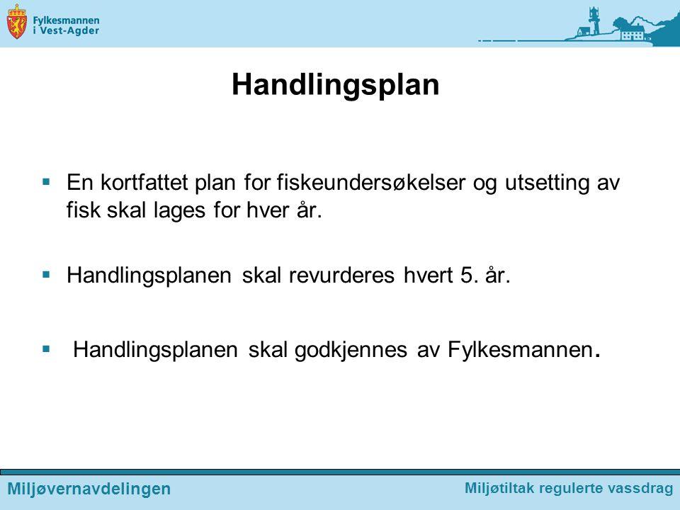 Handlingsplan  En kortfattet plan for fiskeundersøkelser og utsetting av fisk skal lages for hver år.  Handlingsplanen skal revurderes hvert 5. år.