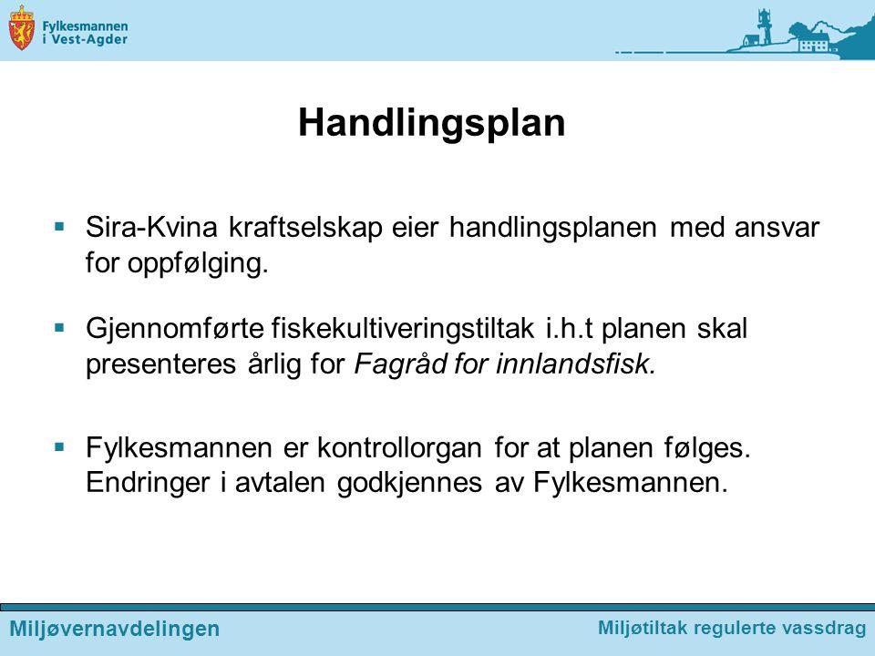 Handlingsplan  Sira-Kvina kraftselskap eier handlingsplanen med ansvar for oppfølging.  Gjennomførte fiskekultiveringstiltak i.h.t planen skal prese