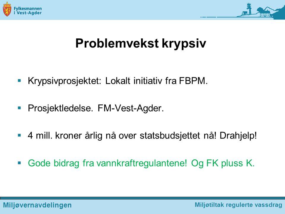 Problemvekst krypsiv  Krypsivprosjektet: Lokalt initiativ fra FBPM.  Prosjektledelse. FM-Vest-Agder.  4 mill. kroner årlig nå over statsbudsjettet