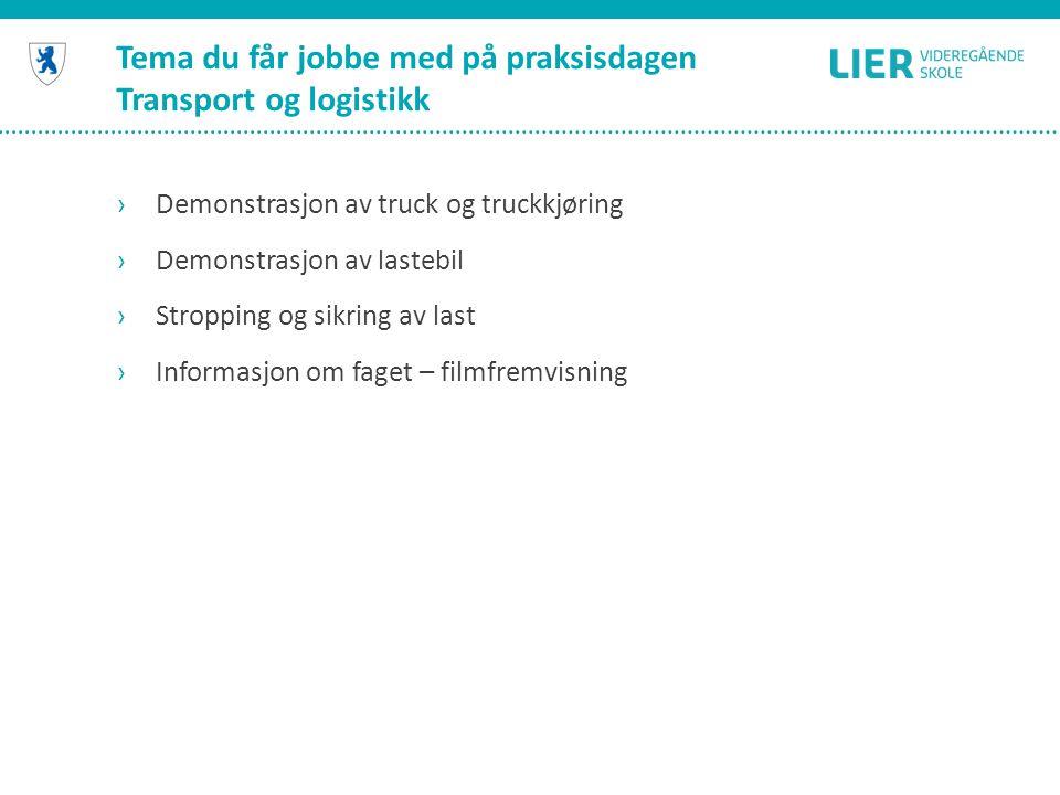 Tema du får jobbe med på praksisdagen Transport og logistikk ›Demonstrasjon av truck og truckkjøring ›Demonstrasjon av lastebil ›Stropping og sikring