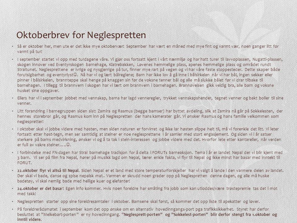 Oktoberbrev for Neglespretten Så er oktober her, men ute er det ikke mye oktobervær.