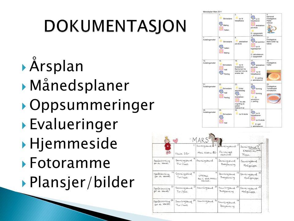  Årsplan  Månedsplaner  Oppsummeringer  Evalueringer  Hjemmeside  Fotoramme  Plansjer/bilder