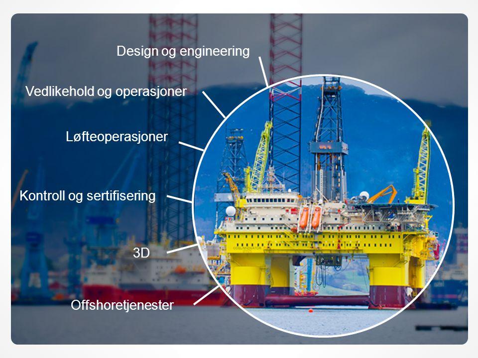 Offshoretjenester Design og engineering Løfteoperasjoner Kontroll og sertifisering Vedlikehold og operasjoner 3D