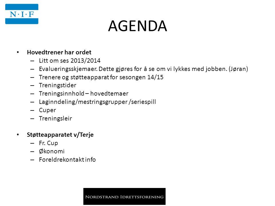 AGENDA Hovedtrener har ordet – Litt om ses 2013/2014 – Evalueringsskjemaer. Dette gjøres for å se om vi lykkes med jobben. (Jøran) – Trenere og støtte