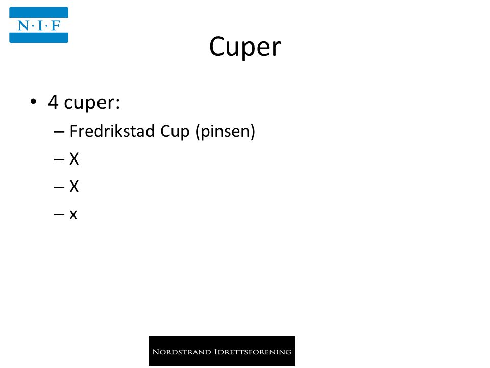 Cuper 4 cuper: – Fredrikstad Cup (pinsen) – X – x