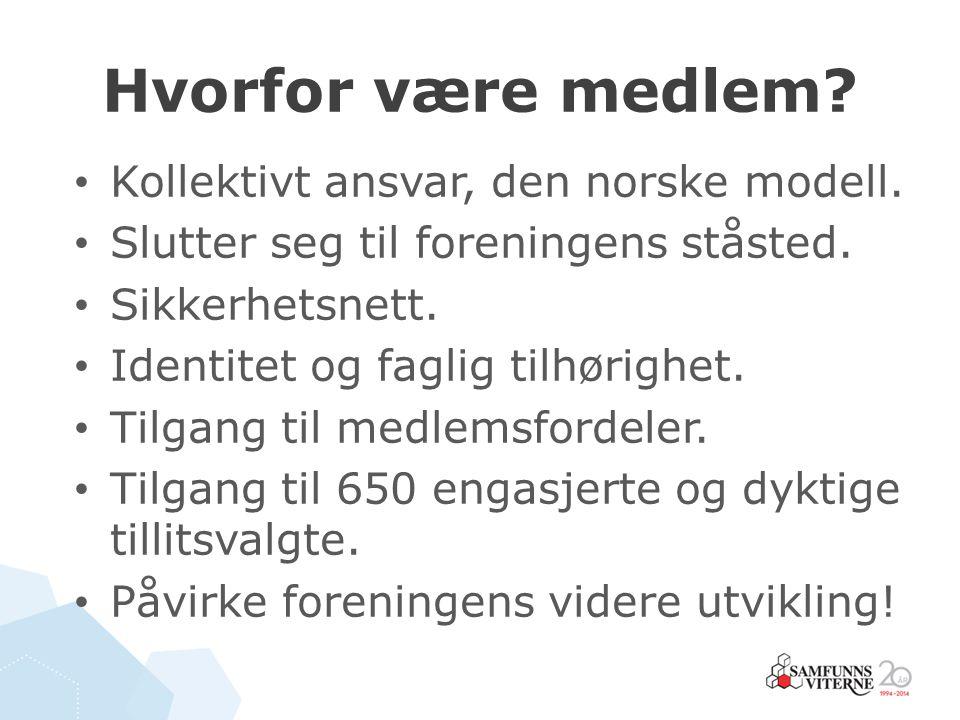 Hvorfor være medlem? Kollektivt ansvar, den norske modell. Slutter seg til foreningens ståsted. Sikkerhetsnett. Identitet og faglig tilhørighet. Tilga