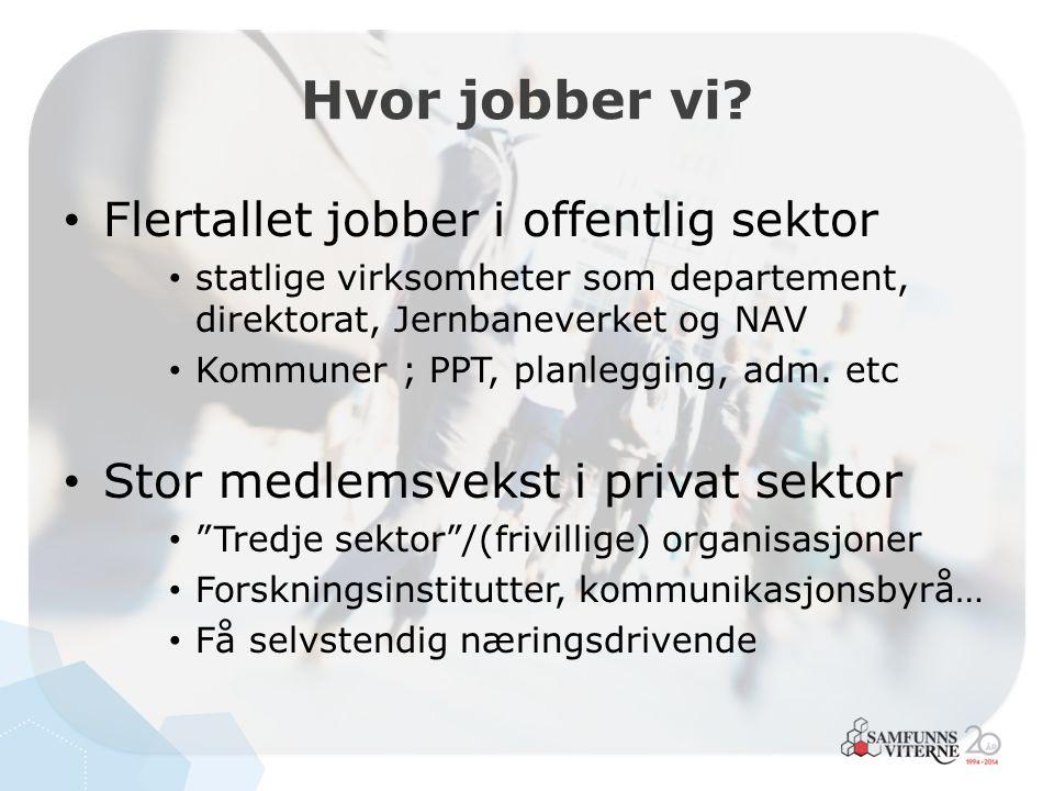 Flertallet jobber i offentlig sektor statlige virksomheter som departement, direktorat, Jernbaneverket og NAV Kommuner ; PPT, planlegging, adm. etc St