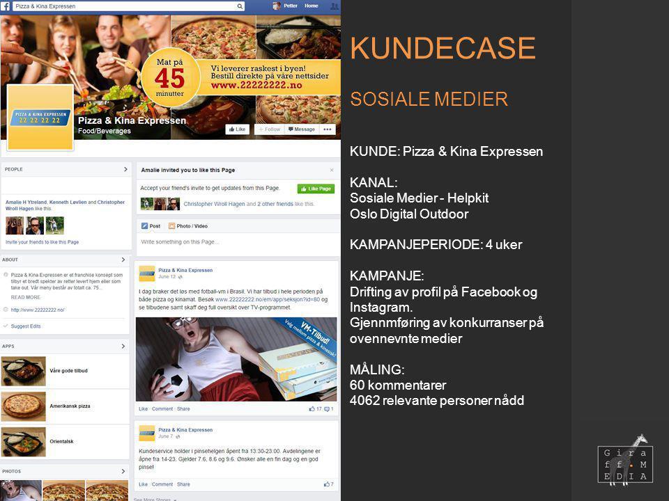 KUNDECASE SOSIALE MEDIER KUNDE: Pizza & Kina Expressen KANAL: Sosiale Medier - Helpkit Oslo Digital Outdoor KAMPANJEPERIODE: 4 uker KAMPANJE: Drifting av profil på Facebook og Instagram.