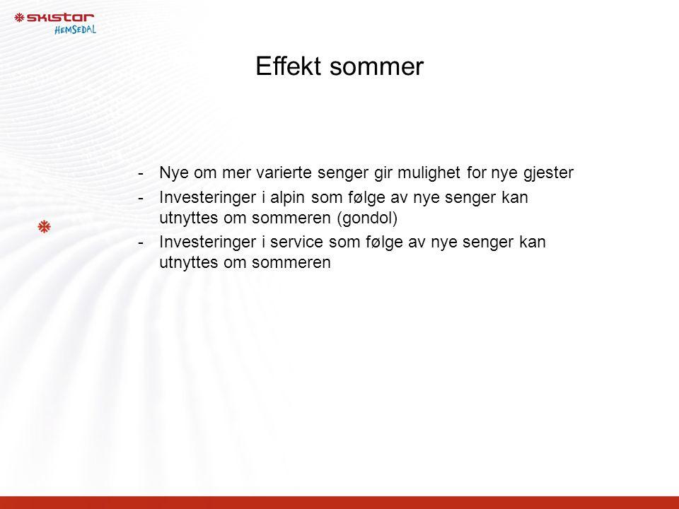 Effekt sommer -Nye om mer varierte senger gir mulighet for nye gjester -Investeringer i alpin som følge av nye senger kan utnyttes om sommeren (gondol) -Investeringer i service som følge av nye senger kan utnyttes om sommeren