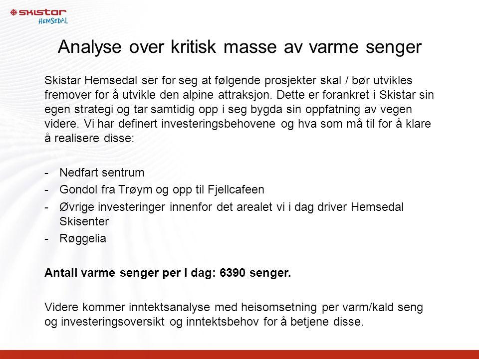 Analyse over kritisk masse av varme senger Skistar Hemsedal ser for seg at følgende prosjekter skal / bør utvikles fremover for å utvikle den alpine a
