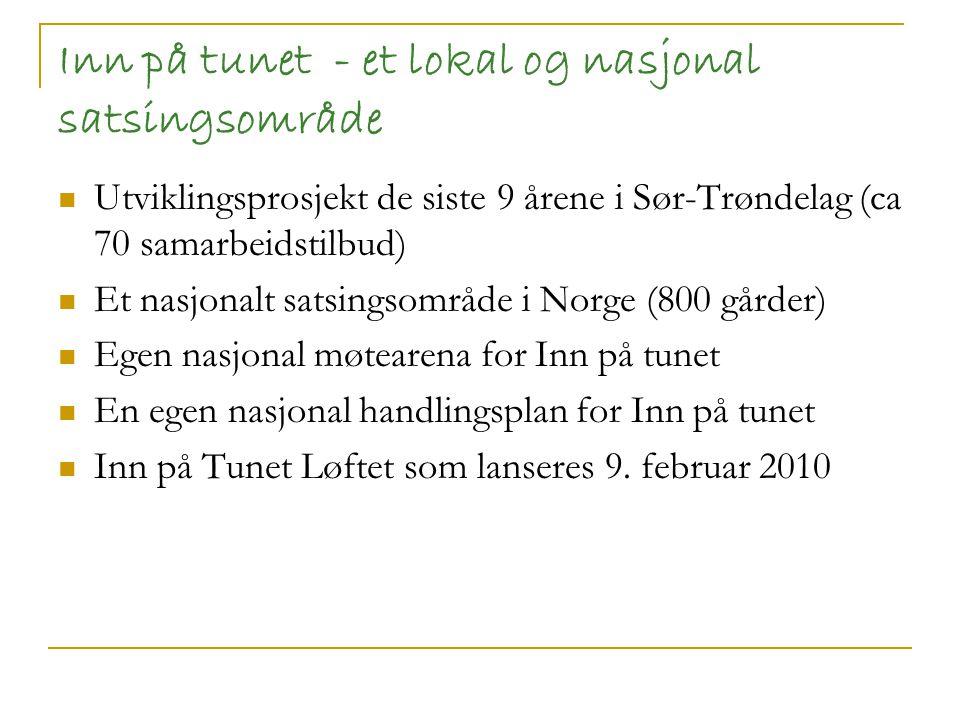 Sentrale elementer i Inn på Tunet -satsingen i Sør-Trøndelag Tverrfaglig samhandling på alle nivå God politisk og administrativ forankring Ta vare på IPT gårder er like viktig som å mobilisere nye.