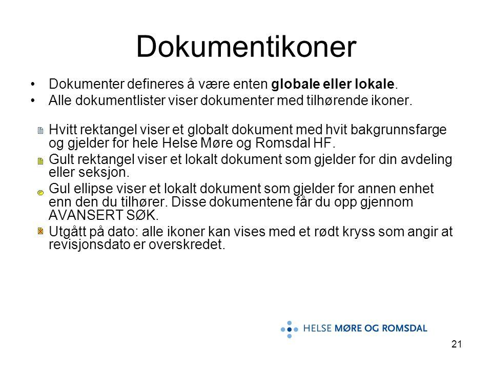 21 Dokumentikoner Dokumenter defineres å være enten globale eller lokale. Alle dokumentlister viser dokumenter med tilhørende ikoner. Hvitt rektangel
