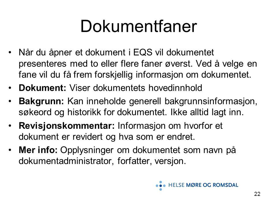 22 Når du åpner et dokument i EQS vil dokumentet presenteres med to eller flere faner øverst. Ved å velge en fane vil du få frem forskjellig informasj
