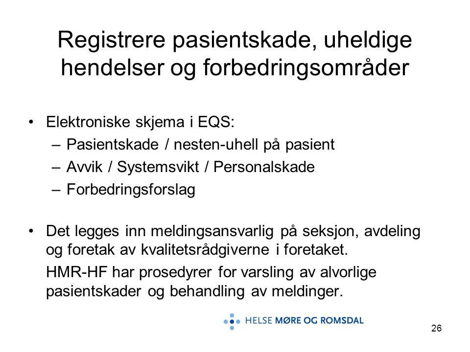 26 Registrere pasientskade, uheldige hendelser og forbedringsområder Elektroniske skjema i EQS: –Pasientskade / nesten-uhell på pasient –Avvik / Syste