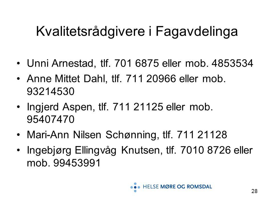 28 Kvalitetsrådgivere i Fagavdelinga Unni Arnestad, tlf. 701 6875 eller mob. 4853534 Anne Mittet Dahl, tlf. 711 20966 eller mob. 93214530 Ingjerd Aspe