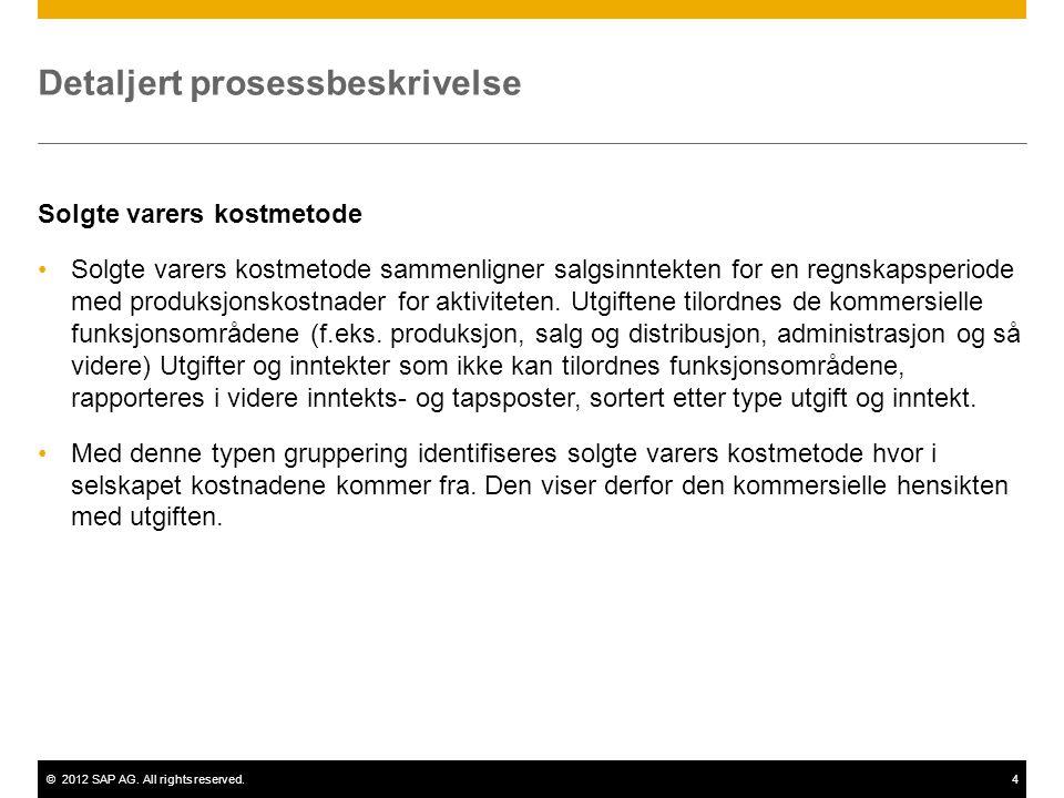 ©2012 SAP AG. All rights reserved.4 Detaljert prosessbeskrivelse Solgte varers kostmetode Solgte varers kostmetode sammenligner salgsinntekten for en
