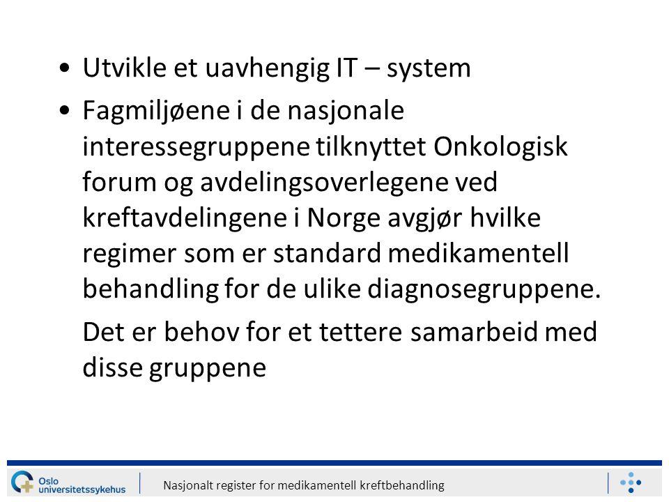 Nasjonalt register for medikamentell kreftbehandling Utvikle et uavhengig IT – system Fagmiljøene i de nasjonale interessegruppene tilknyttet Onkologi