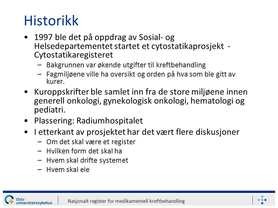 Nasjonalt register for medikamentell kreftbehandling Historikk 1997 ble det på oppdrag av Sosial- og Helsedepartementet startet et cytostatikaprosjekt